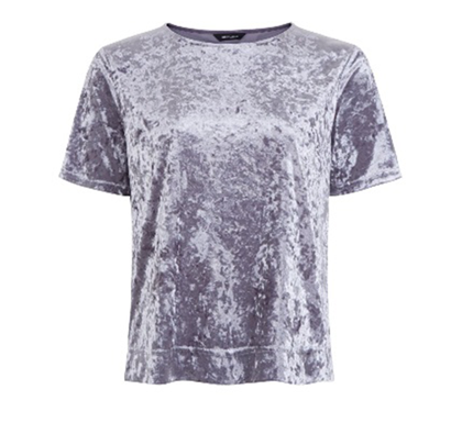 Grey crushed velvet t-shirt